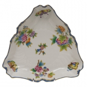"Queen Victoria Blue Border TRIANGLE DISH - BLUE 9.5""L"
