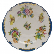 "Queen Victoria Blue Border SALAD PLATE - BLUE 7.5""D"