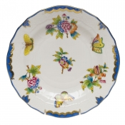 "Queen Victoria Blue Border DESSERT PLATE - BLUE 8.25""D"
