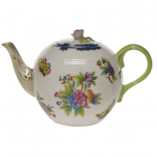 Queen Victoria Blue Border TEA POT W/ROSE - BLUE (36 OZ)