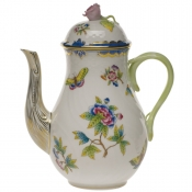 Queen Victoria Blue Border COFFEE POT W/ROSE - BLUE (36 O