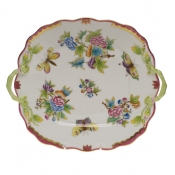 Queen Victoria Pink  Border SQ CAKE PLATE W/HANDLES - PINK