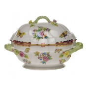 Queen Victoria Pink  Border TUREEN W/BRANCH - PINK (2 QT)