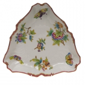 "Queen Victoria Pink  Border TRIANGLE DISH - PINK 9.5""L"