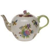 Queen Victoria Pink  Border TEA POT W/ROSE - PINK (36 OZ)