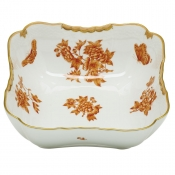 Herend Fortuna Rust Square Salad Bowl - 10""
