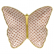 Herend Fishnet Butterfly Dish Rust