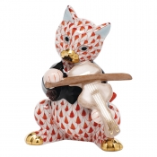 Herend Cat with Fiddle - Rust