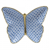 Herend Fishnet Butterfly Dish Blue