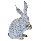Herend Medium Bunny w/Paws Up Blue