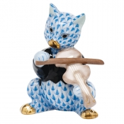Herend Cat with Fiddle - Blue