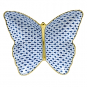 Herend Fishnet Butterfly Dish Sapphire