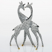 Herend Pair Of Giraffes - Black