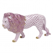 Herend Standing Lion - Raspberry