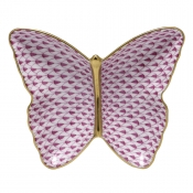 Herend Fishnet Butterfly Dish Raspberry