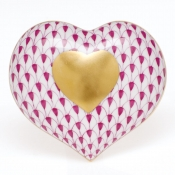 Herend Heart Of Gold - Raspberry