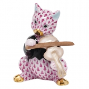Herend Cat with Fiddle - Raspberry