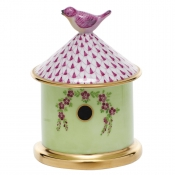 Herend Bird House Box - Raspberry