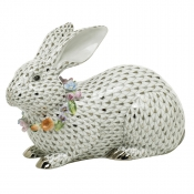 Herend Reserve Collection Gray Bunny w/ Garland