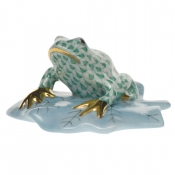 Herend Frog On Lily Pad - Green
