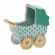 Herend Baby Carriage Green