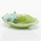 Herend Bunny on Cabbage Leaf Green