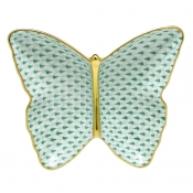 Herend Fishnet Butterfly Dish Green