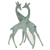 Herend Pair Of Giraffes - Green