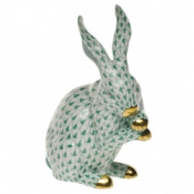 Herend Medium Bunny w/Paws Up Green