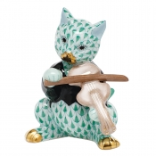 Herend Cat with Fiddle - Green