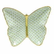 Herend Fishnet Butterfly Dish Lime Green