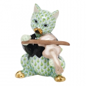 Herend Cat with Fiddle - Key Lime