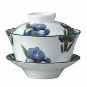 Villandry Flower Iris Chinese Covered Tea Cup & Saucer