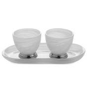 Arte Italica Volterra Oval Platter with Dipping Bowls