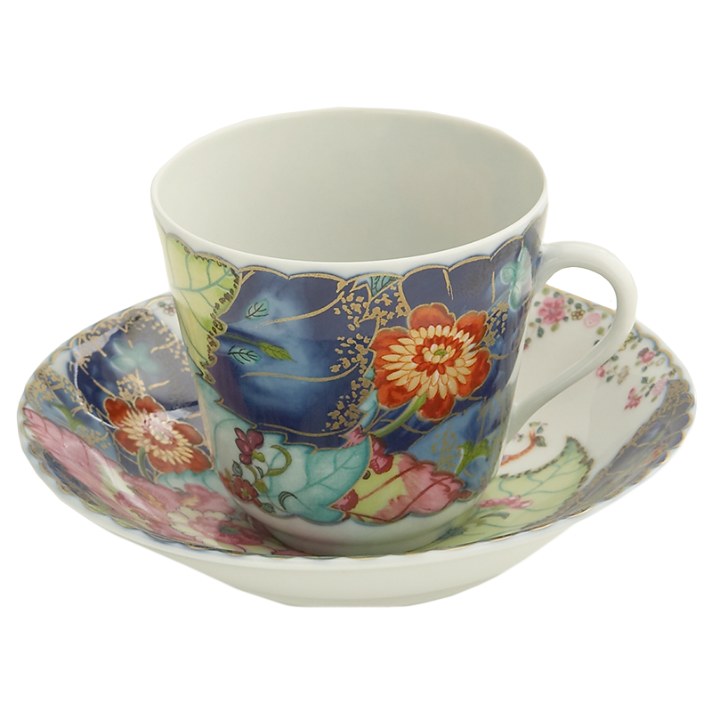 Mottahedeh Tobacco Leaf Tea Cup and Saucer